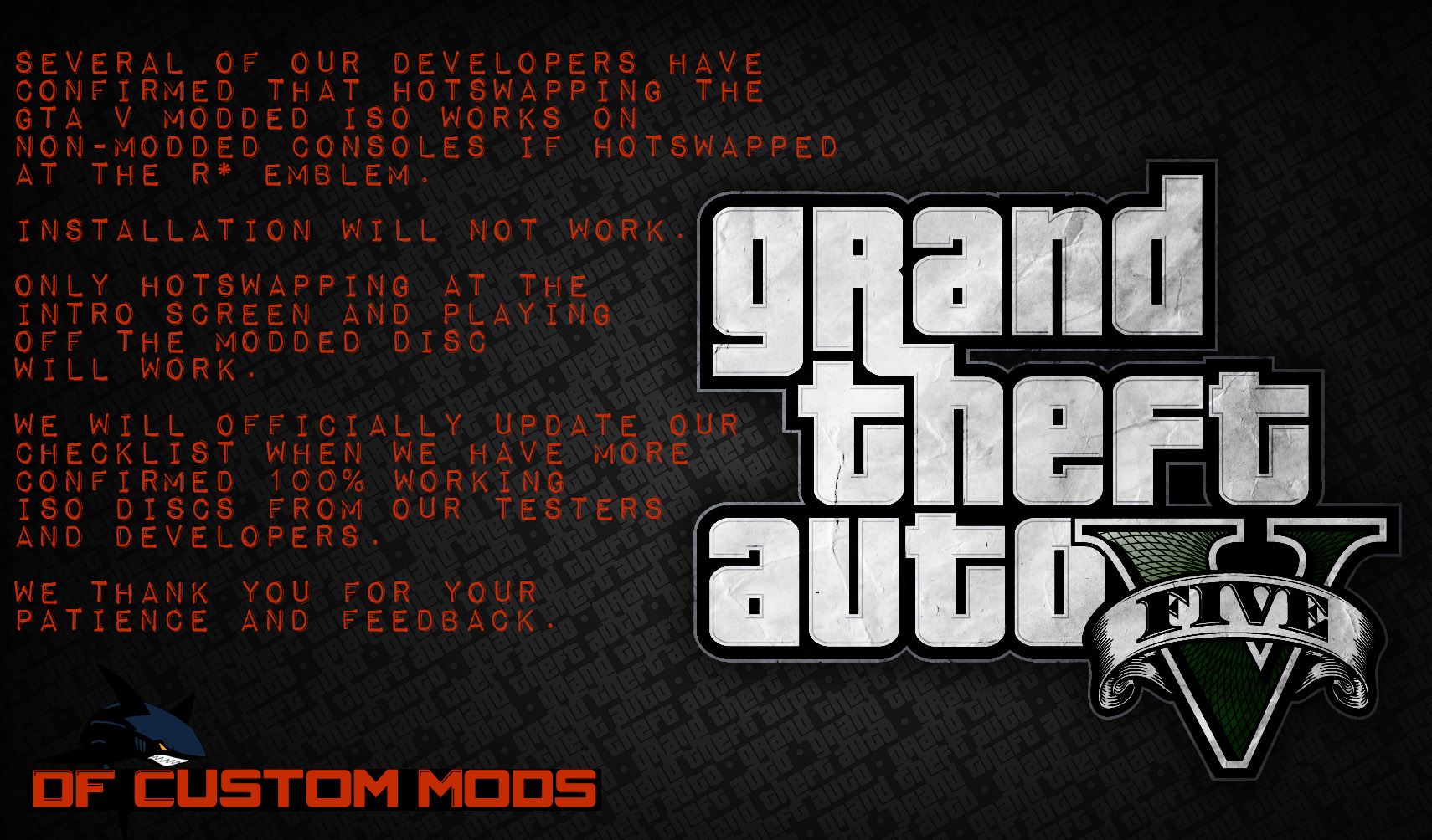 compatibility checklist gta v iso modded only announcement